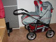 Продам коляску трансформер (зима-лето),  серо-красного цвета